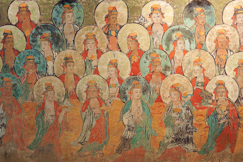 Chines ancient mural. The close-up of Chines ancient Tang Dynasty mural: Bodhisattvas. The mural is located at Foguang Temple in Wutai, Shanxi, China stock image