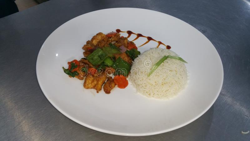 chines chilli rice and chicken pice royalty free stock photo
