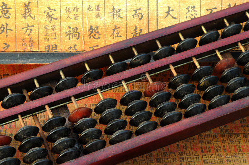 Chinese abacus. With chinese text background royalty free stock photo