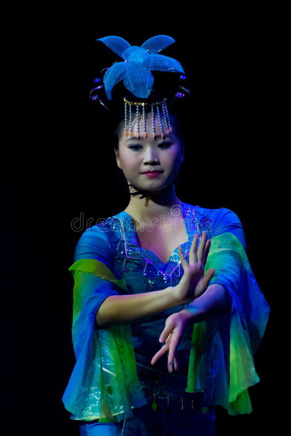 Chinese acrobat. Shantu Acrobatics Troupe. royalty free stock images