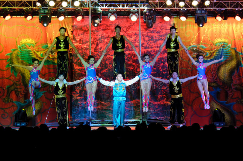 Chinese Acrobats Of Hebei Editorial Stock Image