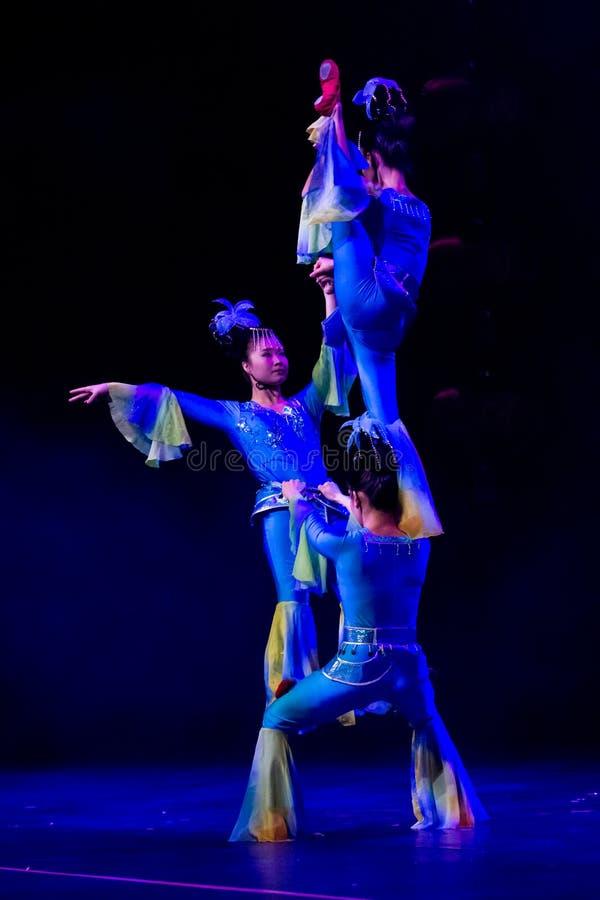 Chinese acrobats. Shantu Acrobatics Troupe. stock image