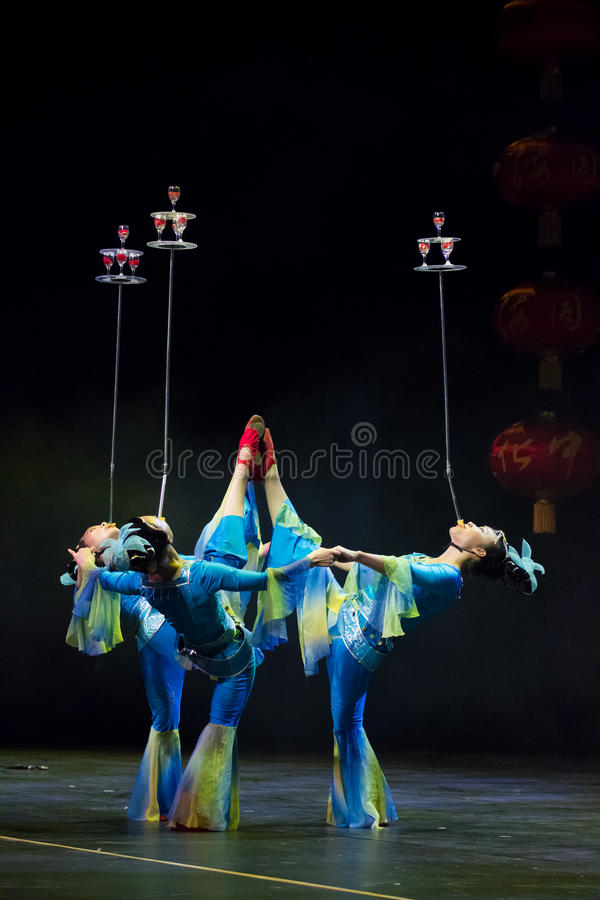 Chinese acrobats. Shantu Acrobatics Troupe. stock images