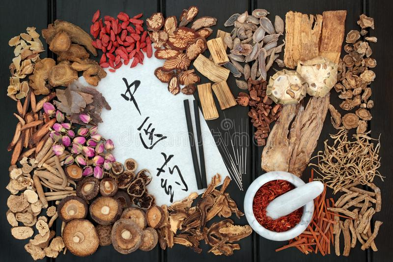 Acupuncture Therapy and Chinese Herbs. Chinese acupuncture needles and moxa sticks used in moxibustion therapy with traditional herbs used in herbal medicine on royalty free stock images