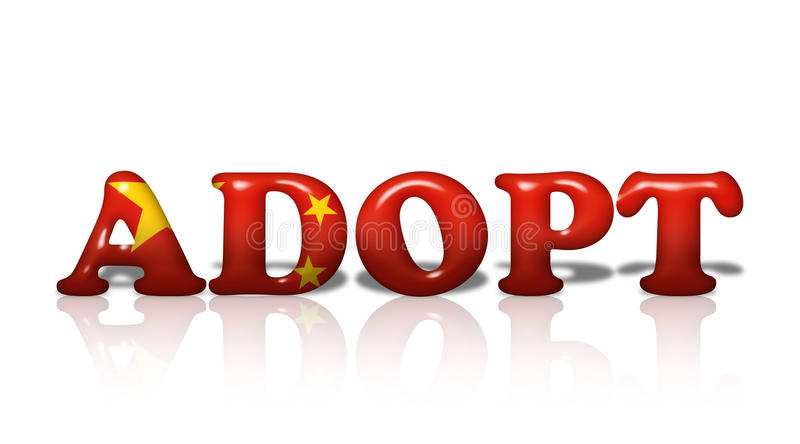 Chinese Adoption. Word Adopt in 3D flag colors of China on white with copy-space, Chinese Adoption vector illustration