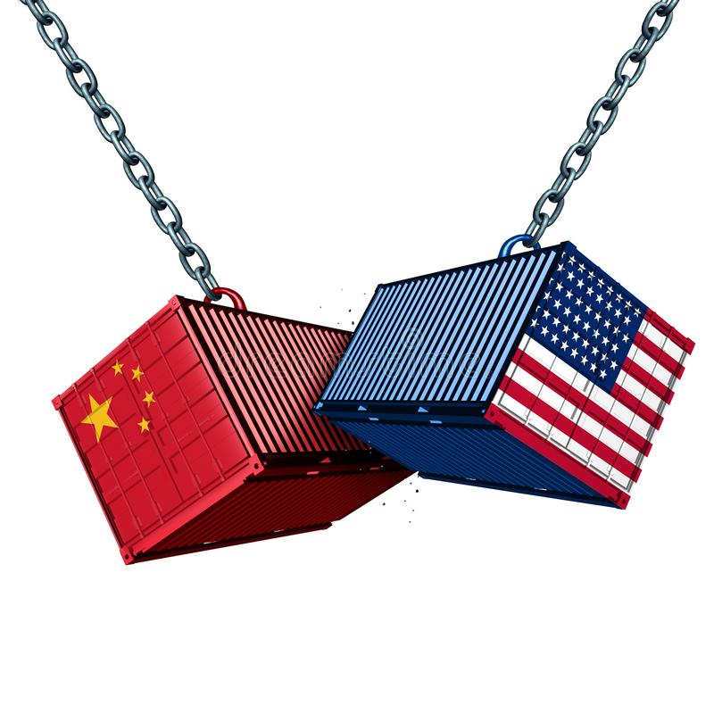 Chinese American Tariff War. Chinese and American tariff war as a China USA trade problem as two cargo containers in conflict as an economic dispute over import stock illustration