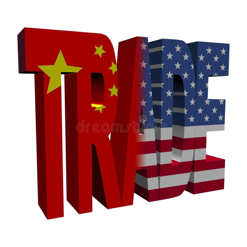 Chinese American trade. Trade text with Chinese and American flags on white illustration stock illustration