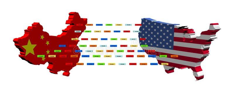 Chinese Amerikaanse handel met containers stock illustratie