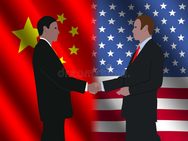 Chinese Amerikaanse vergadering royalty-vrije illustratie
