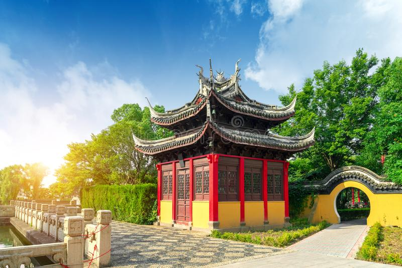 The Chinese ancient architecture. Chinese ancient buildings located by the lake stock images