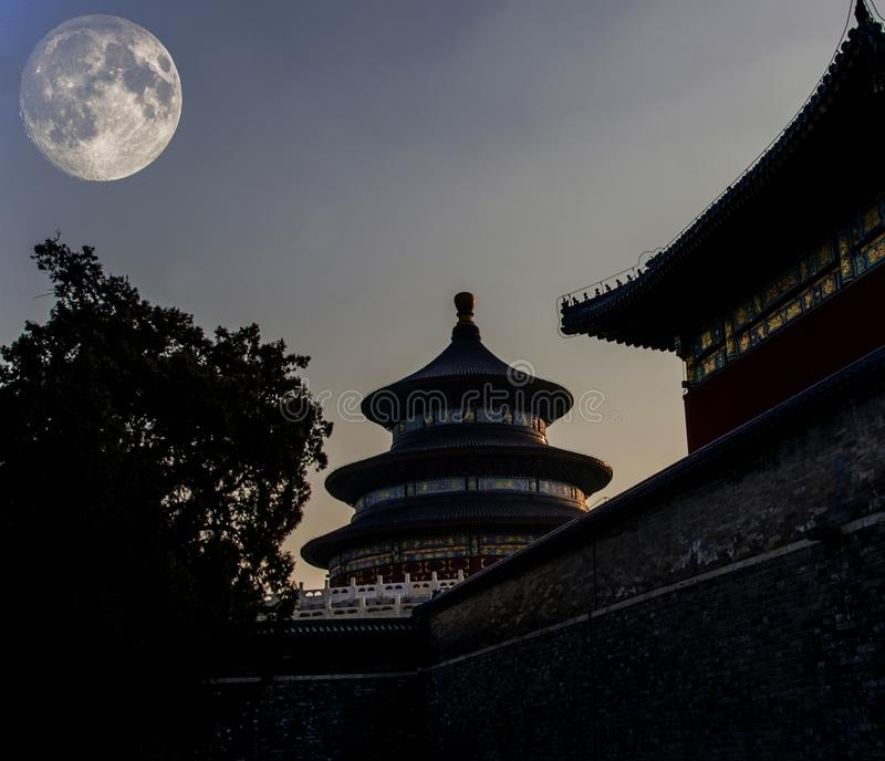 Chinese ancient architecture under Mid Autumn Festival stock photo