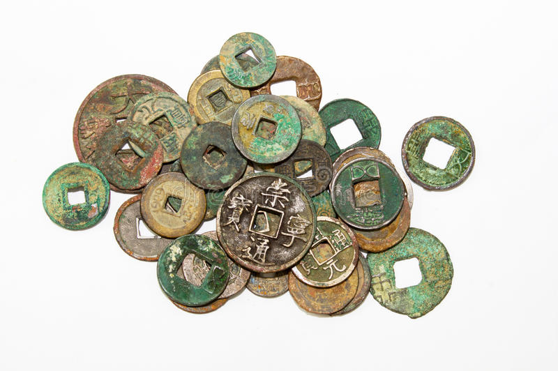 Chinese ancient coins. Various dynasties of ancient Chinese coins stock photos