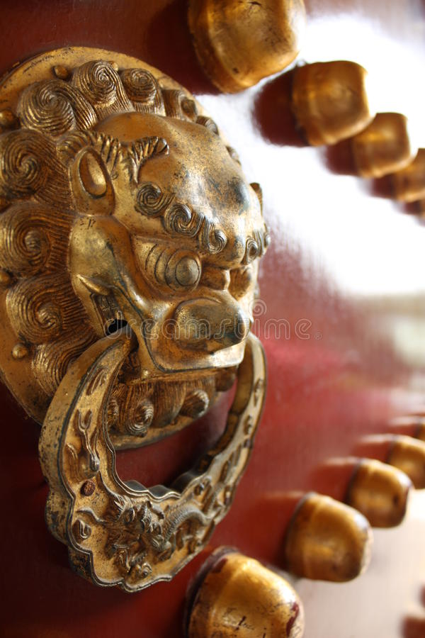 Chinese ancient door with Lion s head door ring