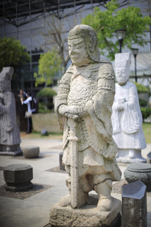 Chinese Ancient General Stone Statue Stock Photo