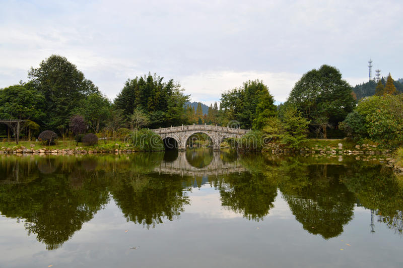 Chinese ancient stone bridge royalty free stock photo