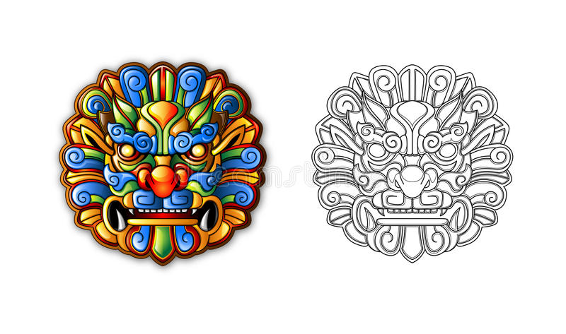 Chinese ancient Style Tiger Mask royalty free illustration