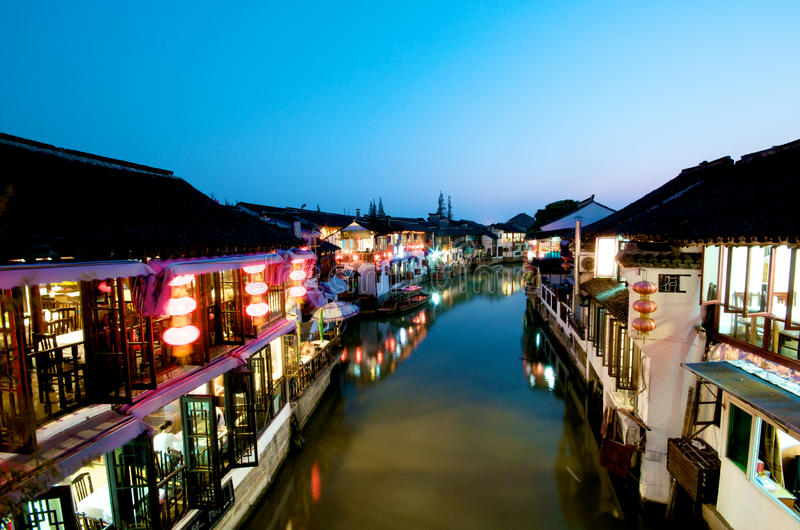 Chinese Ancient Town. On a river at night stock photos
