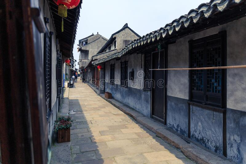 Chinese   ancient town. An alley in an ancient Chinese town royalty free stock image
