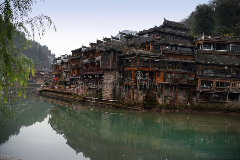 Chinese ancient town scenery. Classical buildings in the riverside, Oriental characteristics, located in the ancient city of southern China royalty free stock photos