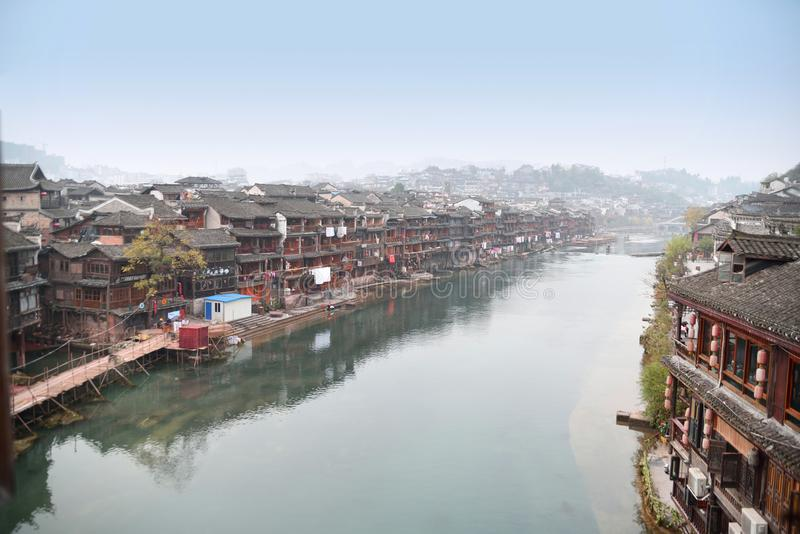 Chinese ancient town scenery. Classical buildings in the riverside, Oriental characteristics, located in the ancient city of southern China royalty free stock images