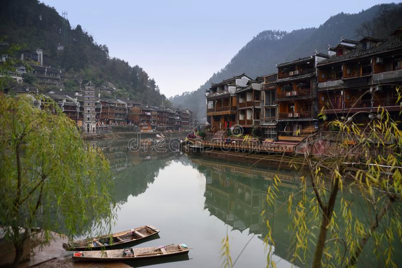 Chinese ancient town scenery. Classical buildings in the riverside, Oriental characteristics, located in the ancient city of southern China stock photography