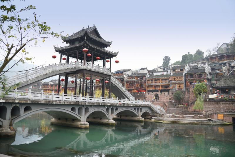 Chinese ancient town scenery. Classical buildings in the riverside, Oriental characteristics, located in the ancient city of southern China stock photo