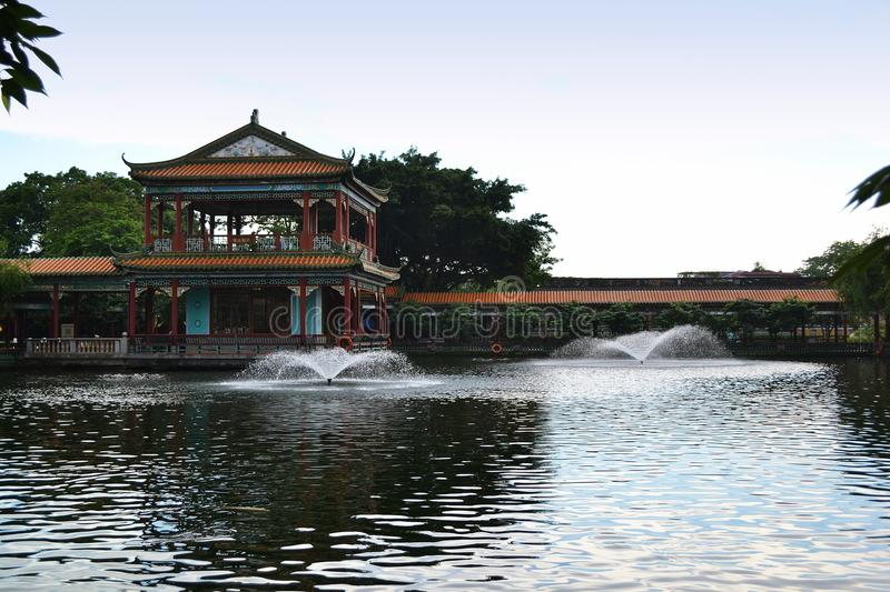 Chinese ancient town scenery. Classical buildings in the riverside, Oriental characteristics, located in the ancient city of southern China stock images