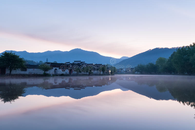 Chinese ancient villages in dawn. Ancient villages in dawn, hongcun, southern anhui,China stock image