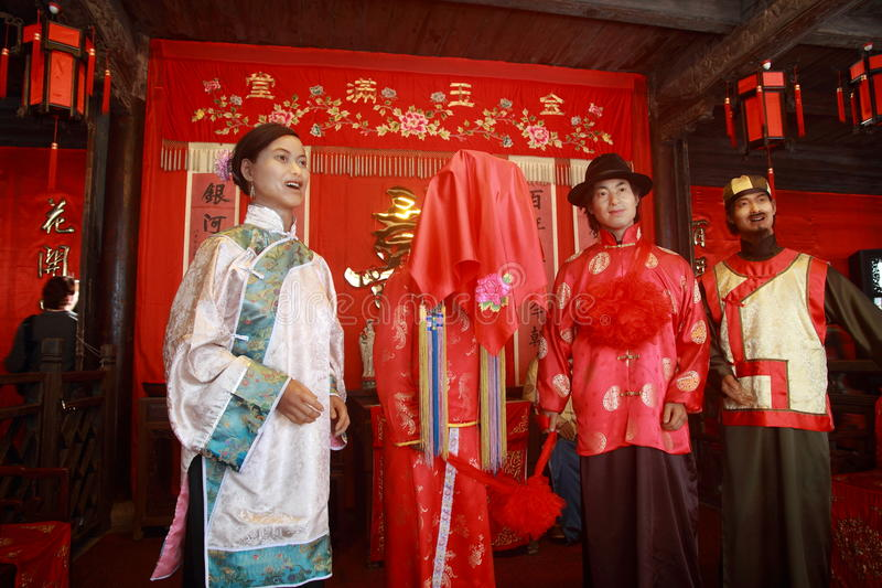 Chinese ancient wedding ceremony stock photos