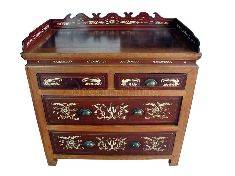 Chinese antique bone-inlay cabinet (isolated) stock image