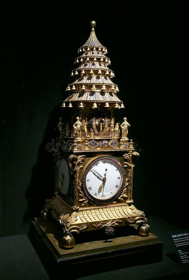 Chinese Antique Mechanical Clock Giltcopper Pagoda Elevating Mechanism 18th Century Forbidden City Maritime Silkroad Palace Museum. Chinese Antique Mechanical royalty free stock images