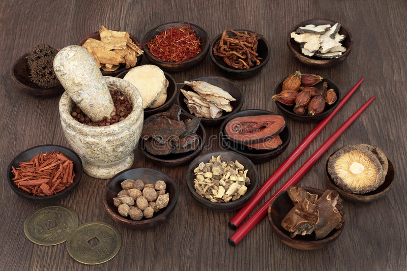 Chinese Apothecary Herbs. Chinese apothecary herb selection used in traditional herbal medicine with mortar and pestle, chopsticks and feng shui coins for good stock image