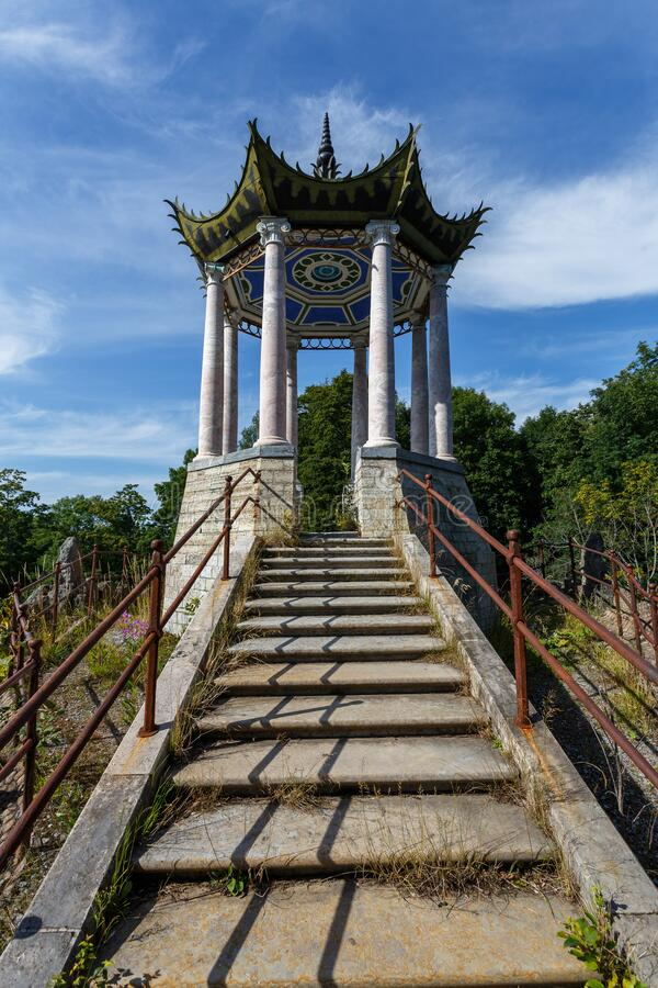 Chinese arbor summer house at the entrance to Catherine palace park in Pushkin Tsarskoe Selo, royalty free stock images