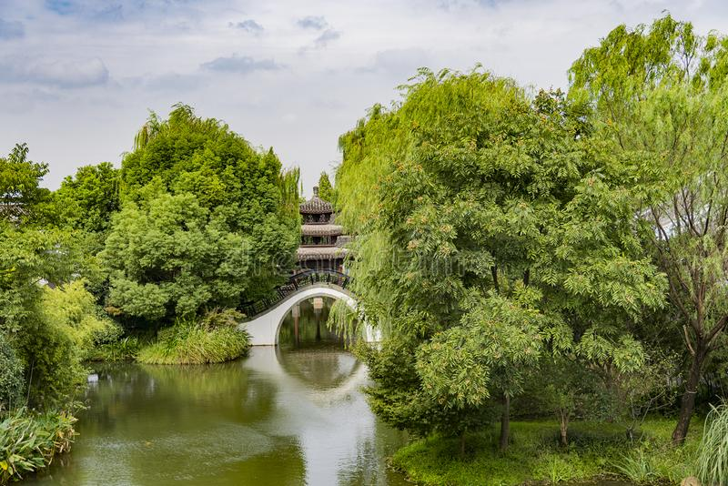 Arch Bridge. A Chinese Arch Bridge on the Lake royalty free stock photo