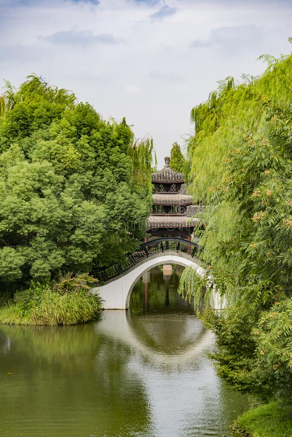 Arch Bridge. A Chinese Arch Bridge on the Lake stock photography