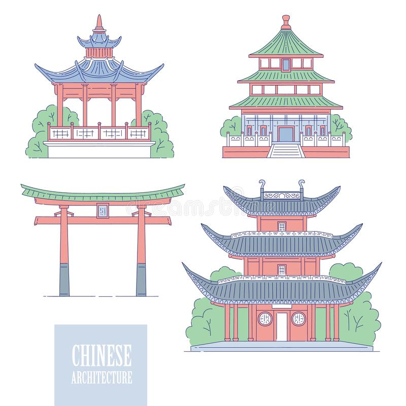 Chinese architectural landmarks. Oriental architecture line art gate pagoda and gazebo. Vector set different traditional. National buildings of China stock illustration