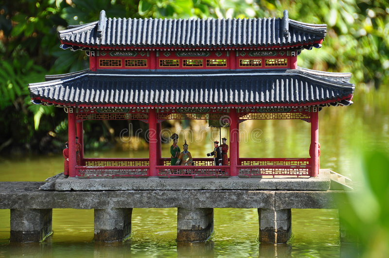 Chinese architecture. Chinese ancient miniature house stock photography