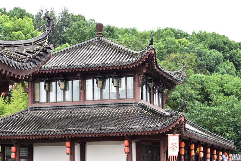 Ancient Chinese Architecture: Yellow crane temple. Chinese architecture is an architectural style that developed over millennia in China, before spreading out to stock photos