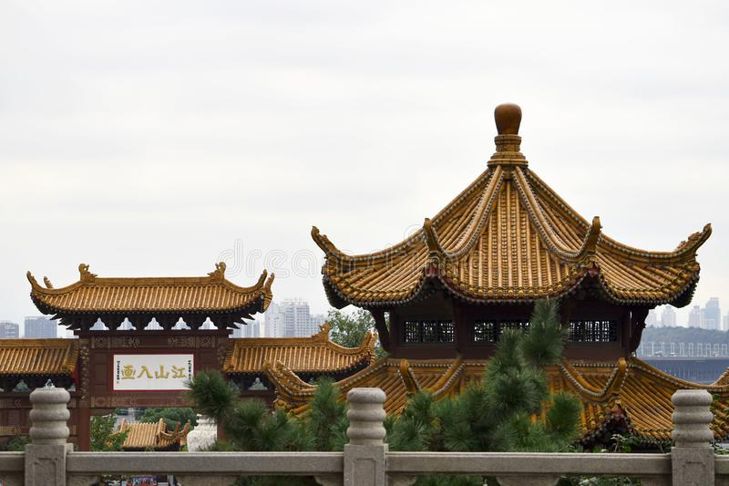Ancient Chinese Architecture: Yellow crane temple. Chinese architecture is an architectural style that developed over millennia in China, before spreading out to stock photography