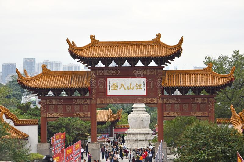 Ancient Chinese Architecture: Yellow crane temple. Chinese architecture is an architectural style that developed over millennia in China, before spreading out to stock photo