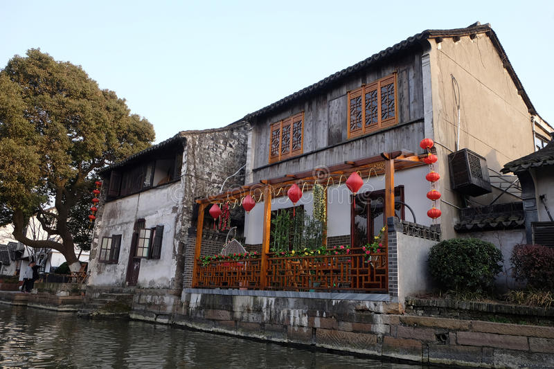 The Chinese architecture, buildings lining the water canals to Xitang town in Zhejiang Province. China stock images