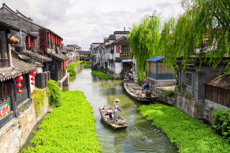 Xitang water Town China buildings. The Chinese architecture and buildings lining the water canals to Xitang town in Zhejiang Province China royalty free stock photos