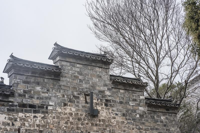 Chinese architecture on the edge of the Ming Dynasty wall. The Chinese-style building on the edge of the Ming Dynasty wall was taken in the East Gate of the old stock images
