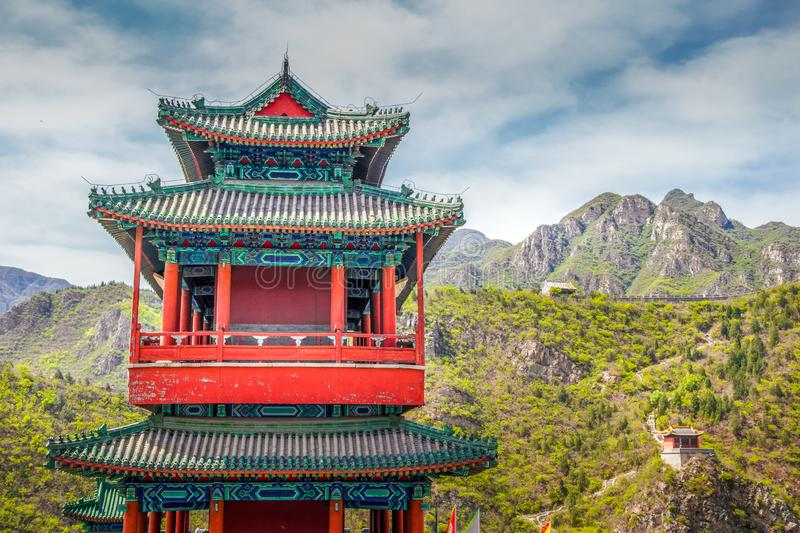 Chinese architecture in the Great Wall stock image