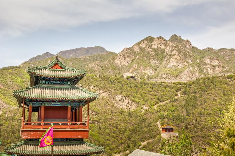 Chinese architecture in the Great Wall royalty free stock image