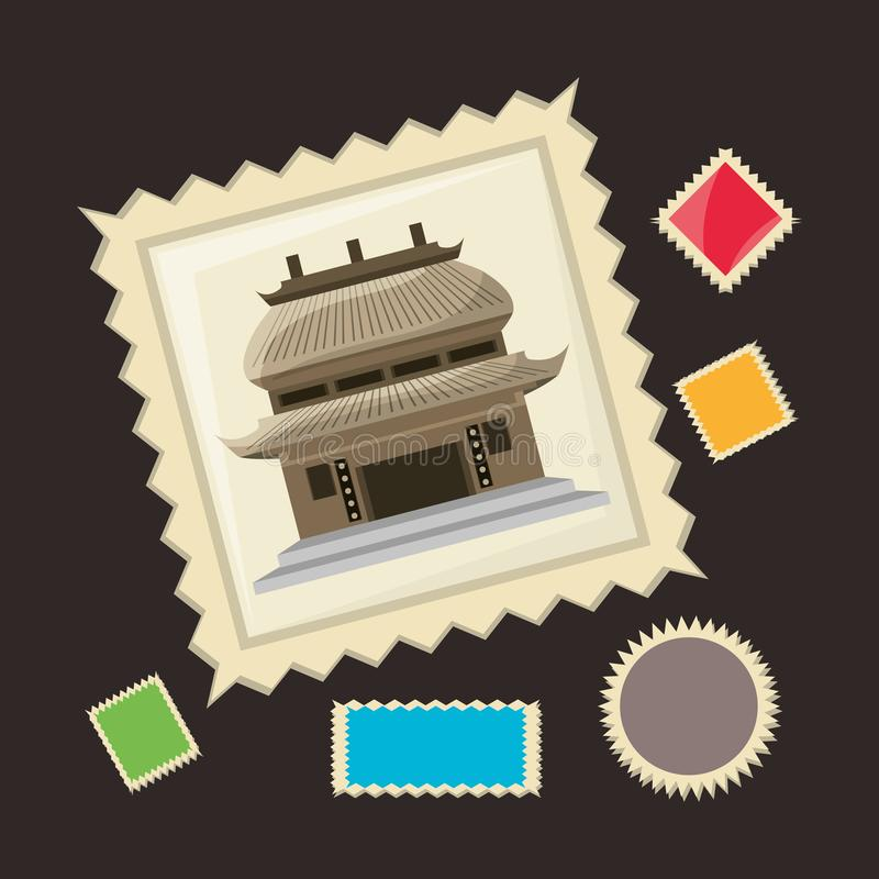 Chinese architecture picture to remember of travel stock illustration
