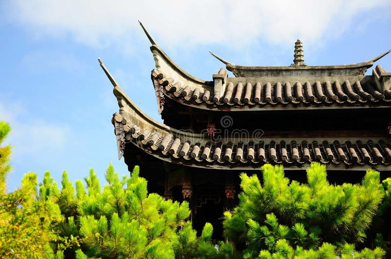 The chinese architecture roof. The eaves on the traditional chinese garden royalty free stock image