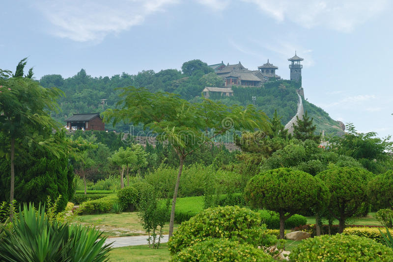 Chinese Architecture on top of mountain stock images