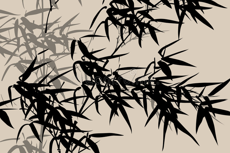 Chinese art: ink painting vector illustration