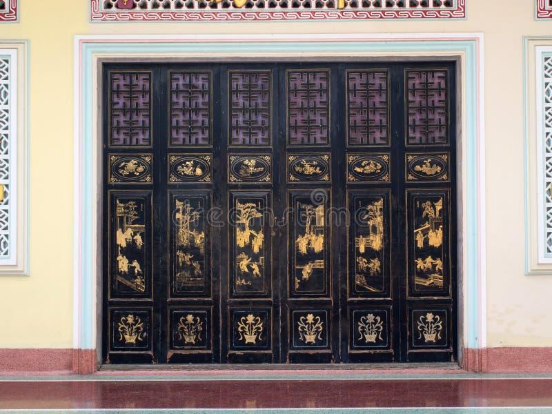 Chinese art sliding door in Bangkok stock images